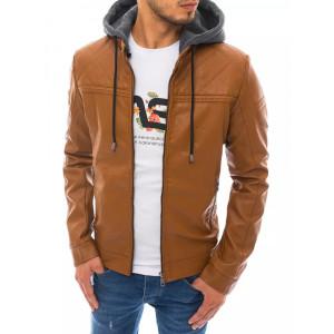 Hnedá pánska kožená bunda so stand up golierom a odopínateľnou kapucňou