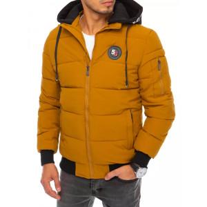 Pohodlná pánska vetrovka na zimu v módnej hnedo žltej farbe