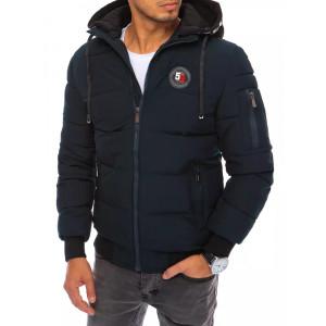 Tmavo modrá pánska prešívaná bunda na zimu s kapucňou LOVE