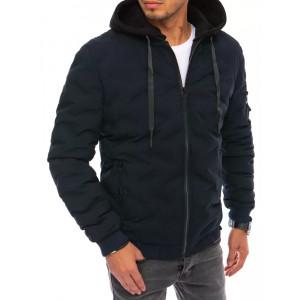 Tmavo modrá krátka zateplená bunda s teplákovou kapucňou