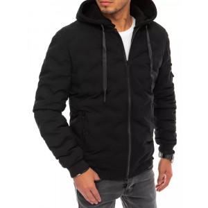 Moderná pánska krátka basic bunda na zimu s kožúškom vo vnútri