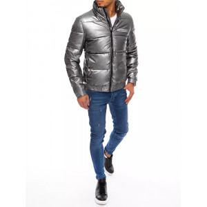 Tmavo sivá pánska metalická bunda na zimu s vysokým stand up golierom