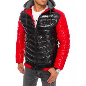Červeno čierna pánska lesklá prešívaná krátka bunda na zimu s kapucňou