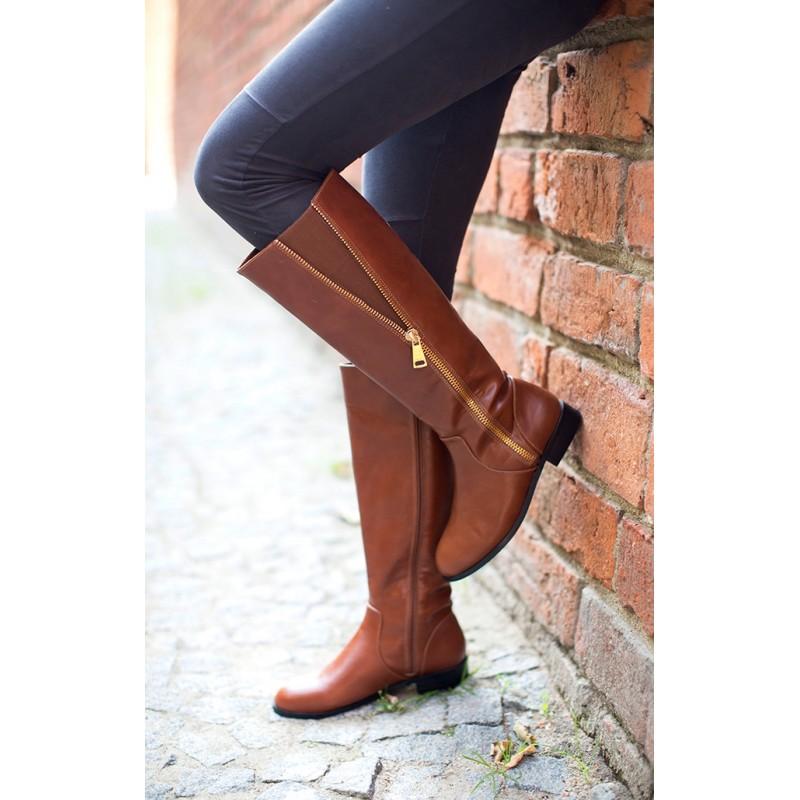 Hnedé dámske zimné čižmy na nízkom podpätku - fashionday.eu 4dc853b2a84