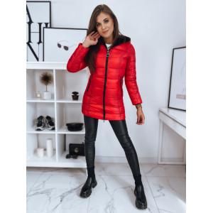 VEĽKOSŤ L Módna dámska červená obojstranná bunda s kožušinou a kapucňou