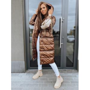 VEĽKOSŤ M SKLADOM Luxusná bronzovo hnedá dámska bunda na zimu so zipsami