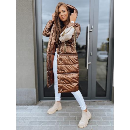 Luxusná bronzovo hnedá dámska bunda na zimu so zipsami