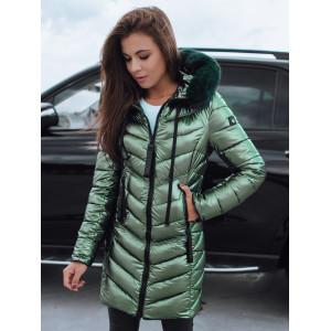 VEĽKOSŤ XL Zelená dámska zimná bunda s módnym leskom a kapucňou SKLADOM