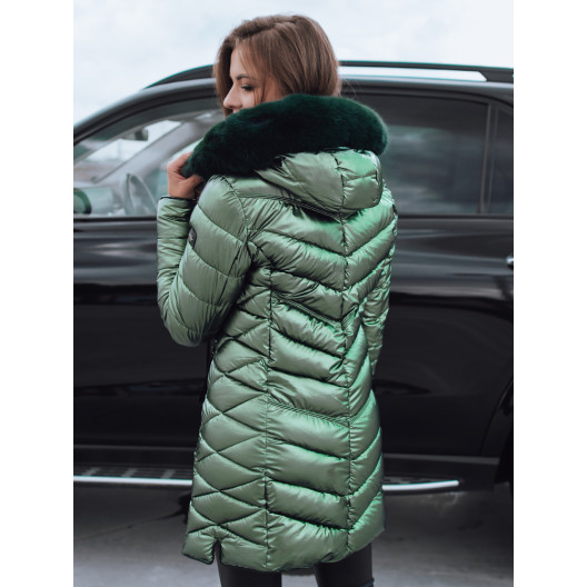 Zelená dámska zimná bunda s módnym leskom a kapucňou