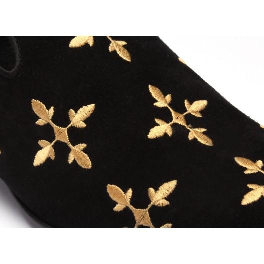 Čierne pánske kožené mokasíny so vzorom COMODO E SANO
