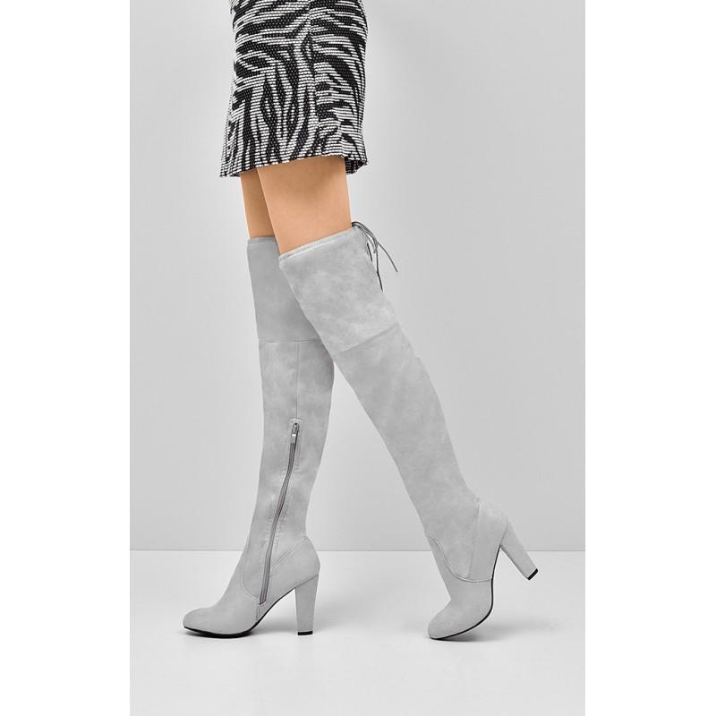 dda3d21eab Svetlo sivé dámske čižmy semišové - fashionday.eu