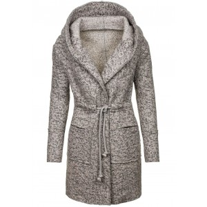 Sivý dámsky kabát s kapucňou