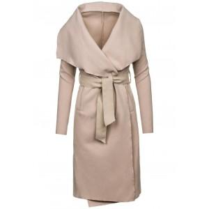 Dlhý dámsky kabát béžovej farby