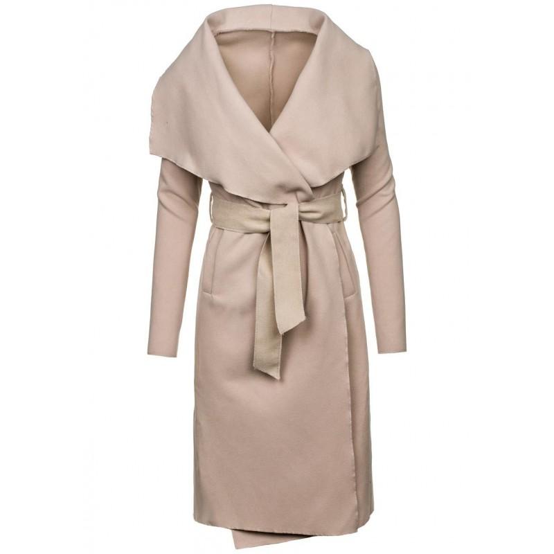 Dlhý dámsky kabát béžovej farby - fashionday.eu b0e5f8a34de