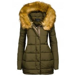 Tmavo zelená dámska zimná bunda s kožušinou
