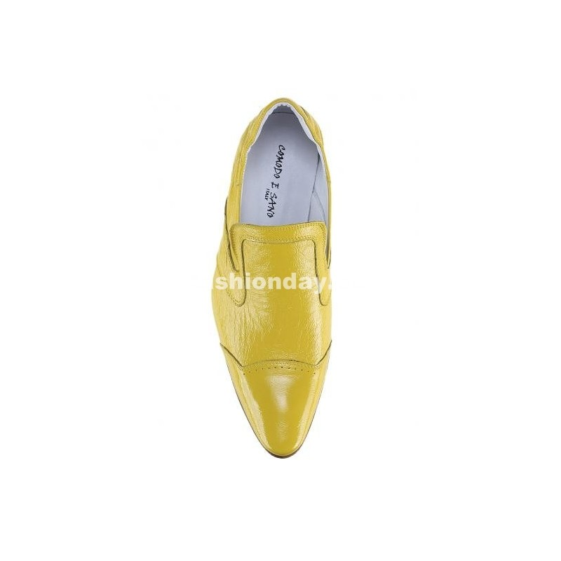 23f7f558bf68 Pánske kožené extravagantné topánky žlté - fashionday.eu