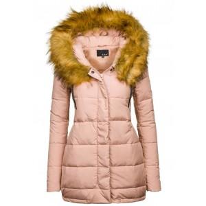 Svetlo ružová dámska zimná bunda