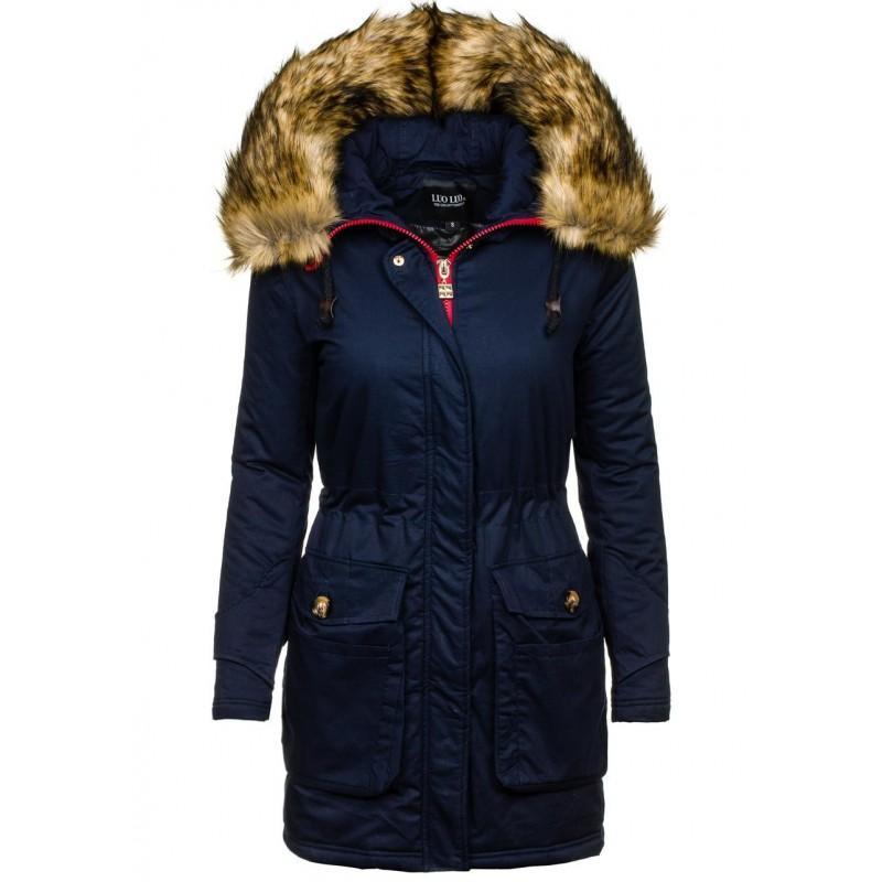 Tmavo modrá dámska zimná vetrovka s kožušinou - fashionday.eu 25c03f0e1e0