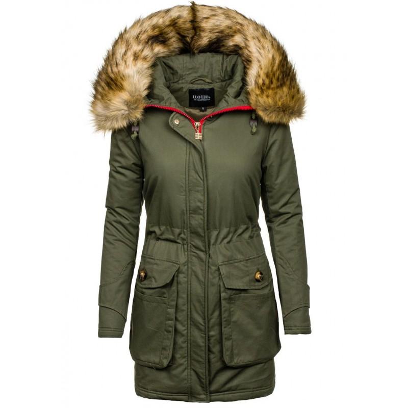 Tmavo zelená dámska zimná bunda s kožušinou - fashionday.eu d55ef59c192
