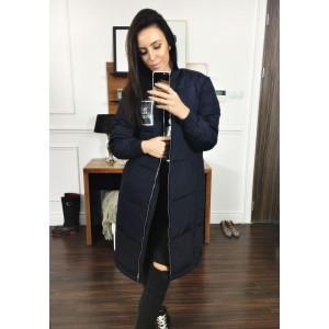 Tmavomodrá dámska dlhá zimná bunda