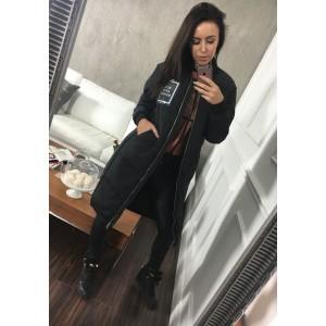 Čierna dámska zimná bunda dlhá