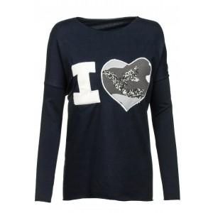 Tmavomodrý dámsky sveter s nápisom