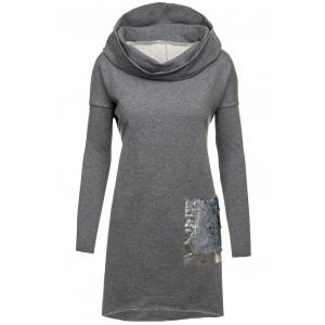 Dlhý dámsky sveter sivý