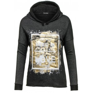 Čierny dámsky sveter s kapucňou