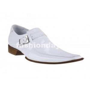 Pánske kožené extravagantné topánky biele