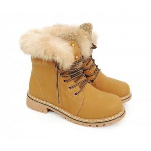 Svetlo hnedé dámske zateplené workery na zimu s kožušinou a nízkym ... 371415dc925