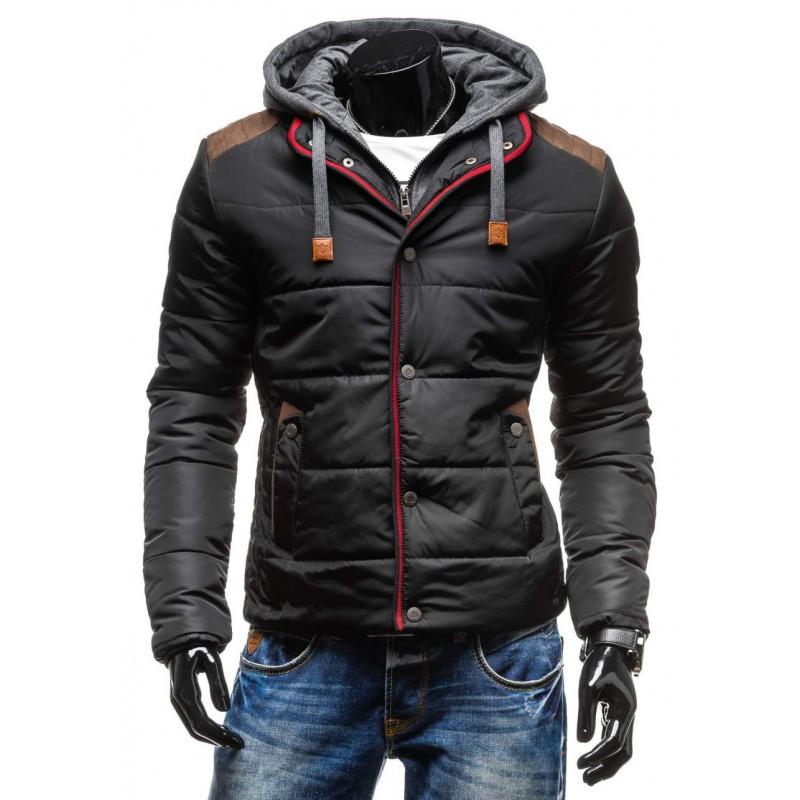 Čierna pánska zimná bunda krátka - fashionday.eu d4f604d3e78