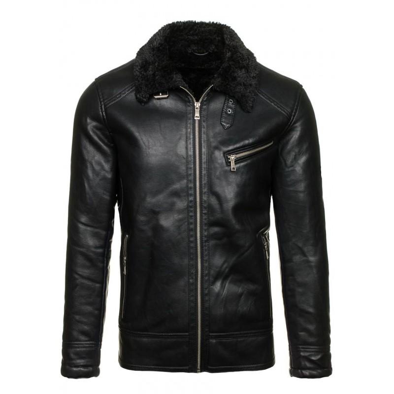 Čierna pánska kožená bunda s kožušinou - fashionday.eu bc0a4971107