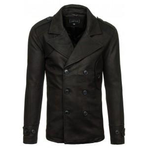 Čierny pánsky kabát bez vreciek