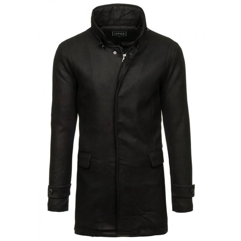 e4d5a9a64637 Dlhý pánsky kabát čierny - fashionday.eu