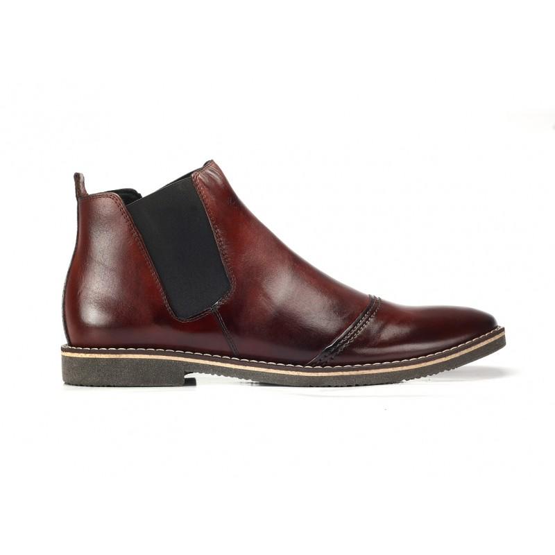 c7d9fbda63f3 Bordové pánske kožené topánky COMODO E SANO  Bordové pánske kožené ...