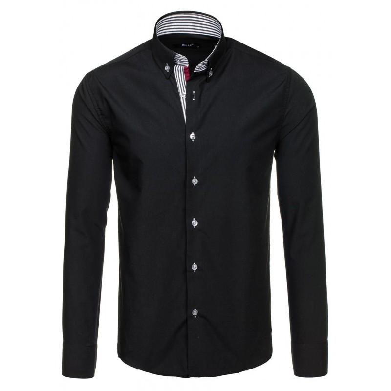 6f8db89d8421 Čierna pánska košeľa s lémovaním okolo gombíkoch - fashionday.eu