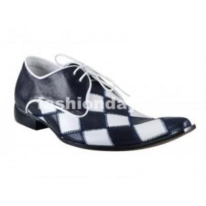 Pánske kožené extravagantné topánky modro-biele