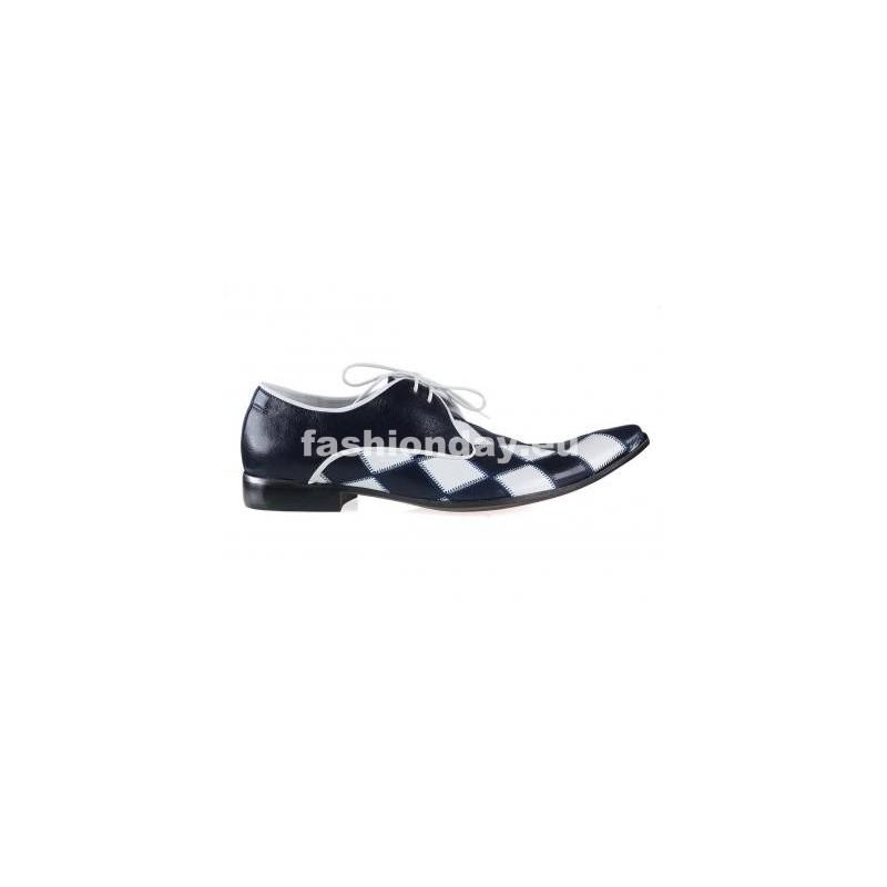 0cb7ecdce2 Pánske kožené extravagantné topánky modro-biele - fashionday.eu