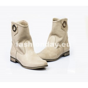 Dámske kožené topánky cappuccino DT007