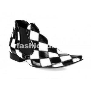 Pánske členkové topánky bielo-čierne
