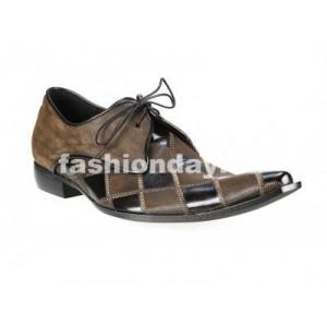 Pánske kožené extravagantné topánky čierno-hnedé