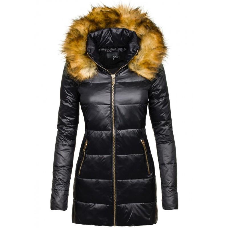 4dd01e850c75 Elegantné dámske zimné vetrovky čierne - fashionday.eu