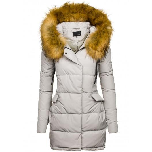 Športové dámske zimné bundy sivej farby - fashionday.eu adf9dd595c7