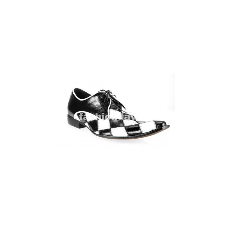 c19f1d0a432b Pánske kožené extravagantné topánky čierno-biele - fashionday.eu