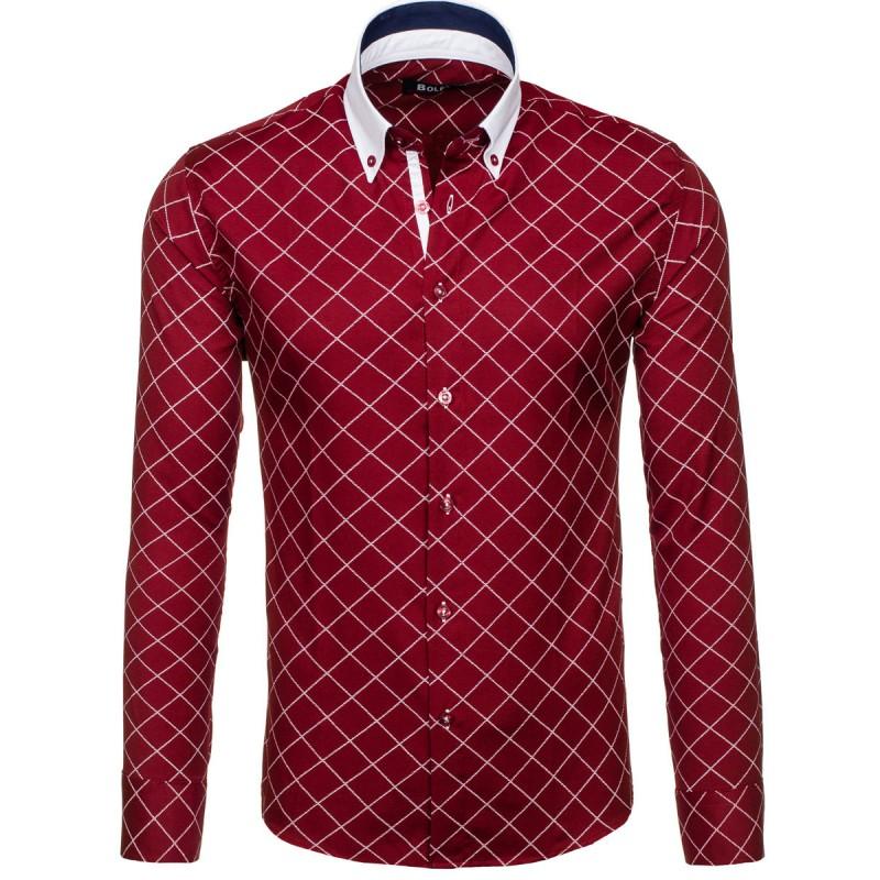 dd1d492dc0a2 Bordová pánska košeľa karovaná - fashionday.eu