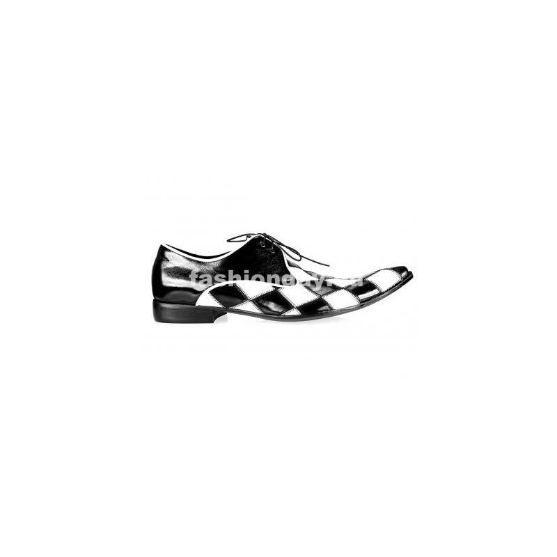 e20c75f5eb Pánske kožené extravagantné topánky čierno-biele - fashionday.eu