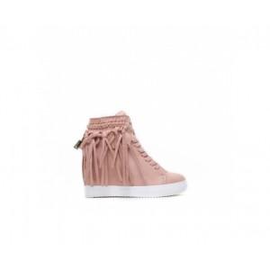 Ružové dámske členkové topánky na vysokom podpätku