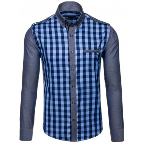 841708676814 Elegantná pánska košeľa tmavo modrej farby k obleku