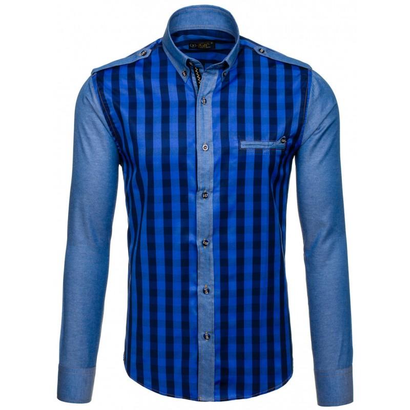 702a7701d673 Sýtomodrá kockovaná pánska košeľa s dlhým rukávom - fashionday.eu