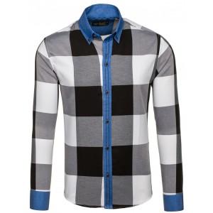 bb440dc5a697 Moderná čierno-biela pánska košeľa s odnímateľnou kapucňou a vreckami